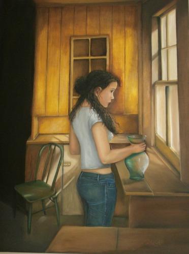 cuadro original de isabel lang   detras de la ventana