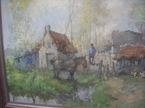 cuadro paisaje rancho acuarella no oleo 90ancho x 75 alto cm