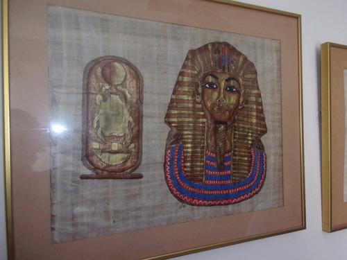 cuadro papiro original comprado en egipto 53x44 cms 18verdes