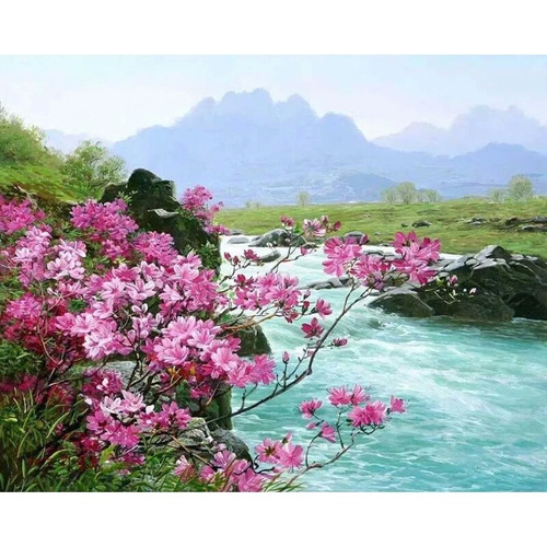 cuadro para pintar. paisaje de rio.