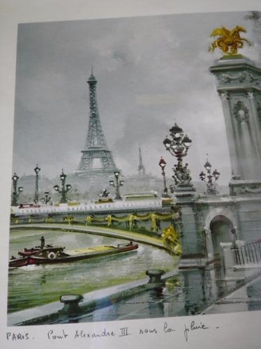 cuadro paris antiguo puente alexandre 48x39 maurice legendre