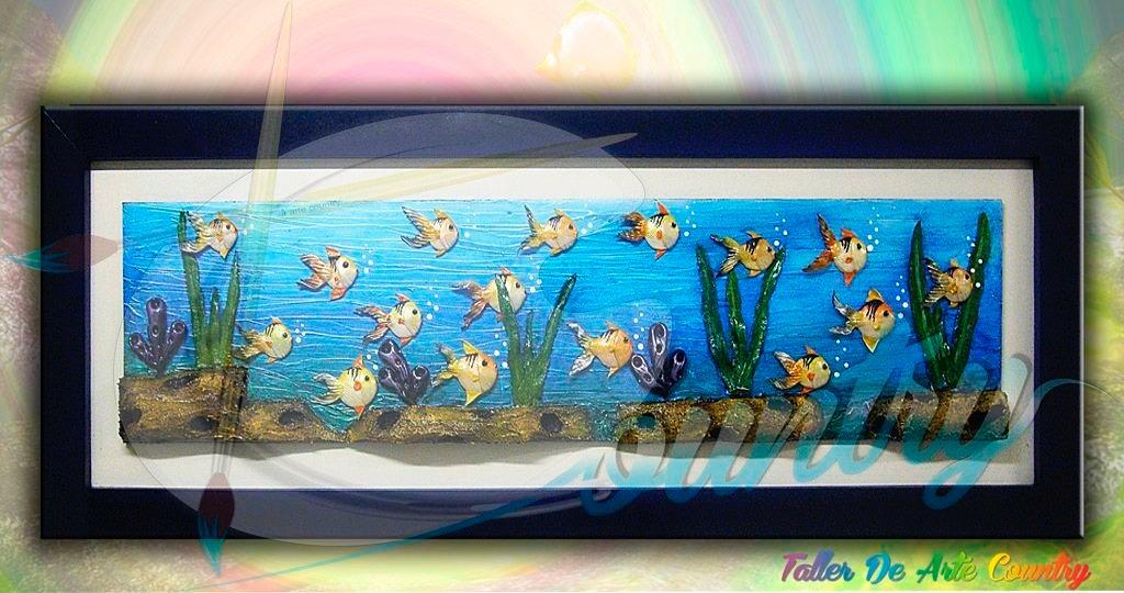 Cuadro peces alto relieve t cnicas mixtas en for Cuadros con peces