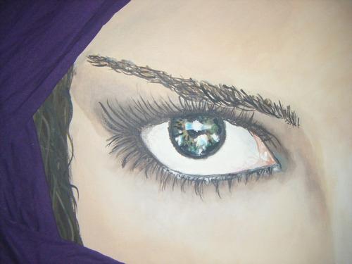 cuadro pintado a mano con relieve de tela