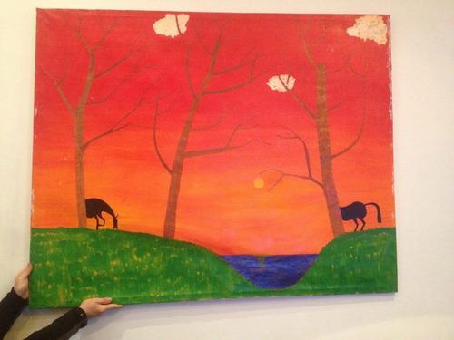 cuadro pintado a telar preciosos colores