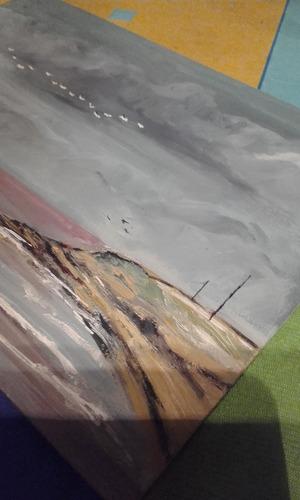 cuadro pintado al oleo de abella tormenta en pocitos usado