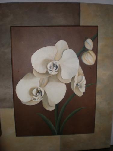 cuadro pintado al oleo tríptico  flores