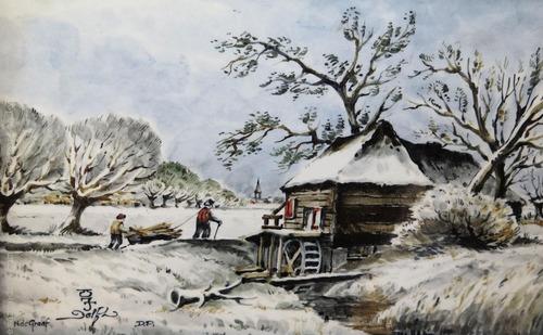 cuadro pintado en porcelana firmado n. de graaf  paisaje