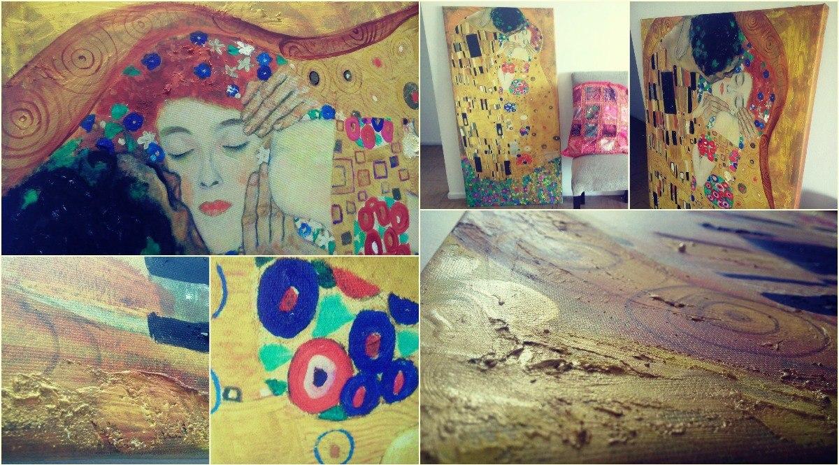 Cuadro Pintado Relieve El Beso Klimt Dorado Arte Lienzo - $ 2.900,00 ...