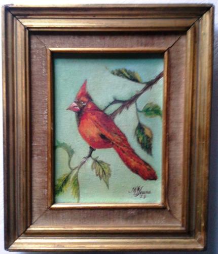cuadro pintura al óleo pájaro cardenal rojo en rama