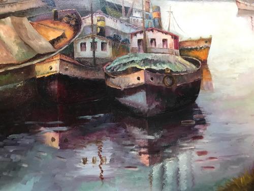 cuadro pintura argentina al oleo de nelda wheeler la boca