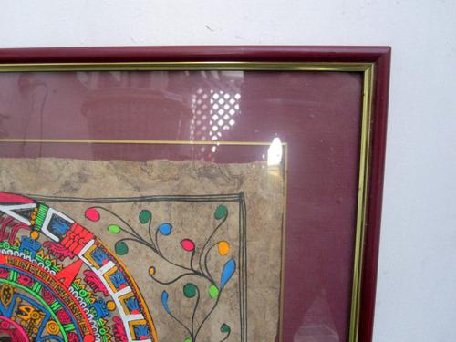 cuadro pintura en corteza arbol arte mexicano 54 x 43 cm