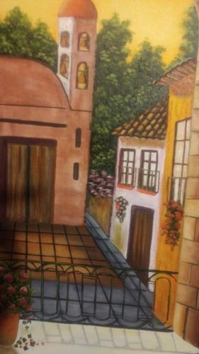 cuadro pintura en oleo arte mexicano paisaje