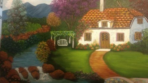 cuadro pintura en oleo paisaje montañas