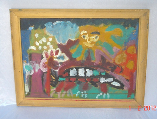 cuadro pintura garabato sobre hardbord oferta (14a)