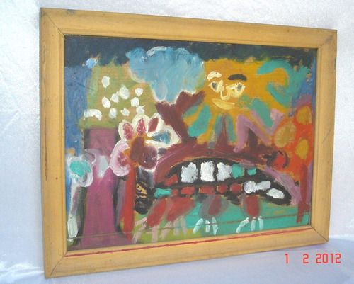 cuadro pintura garabato sobre hardbord oferta (14p)