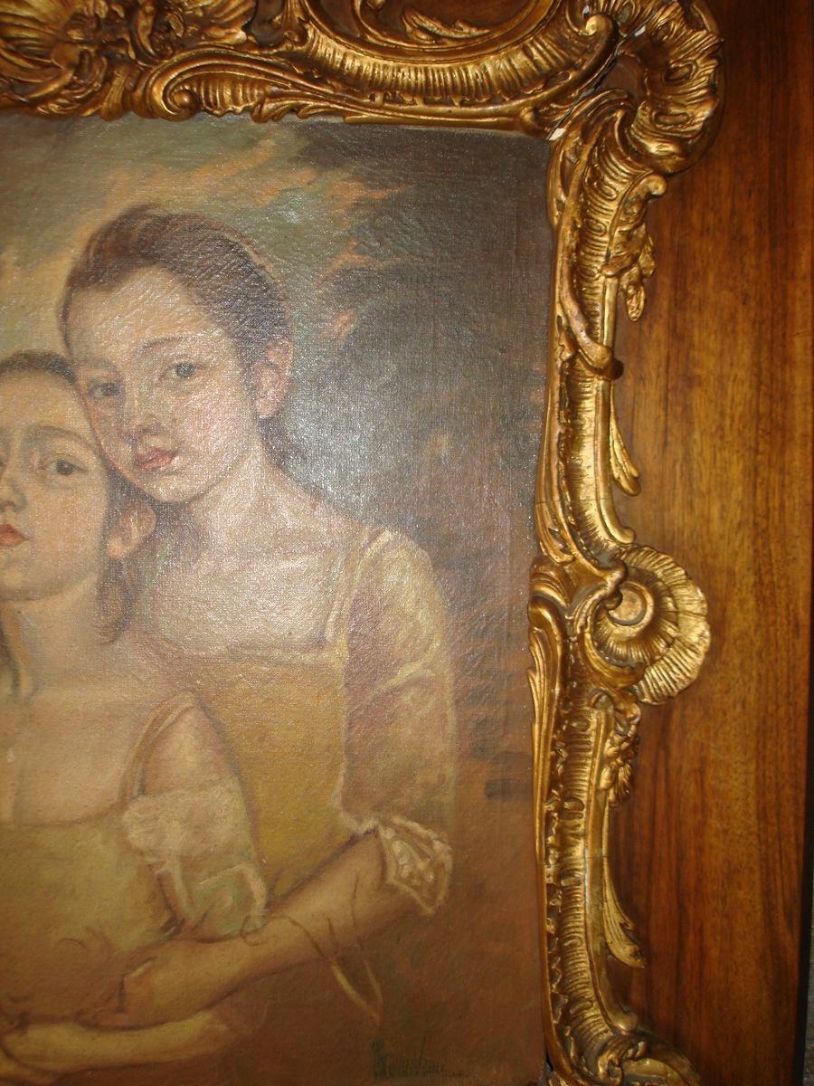 Cuadro pintura muy antiguo marco madera y dorado 350 for Marco cuadro antiguo