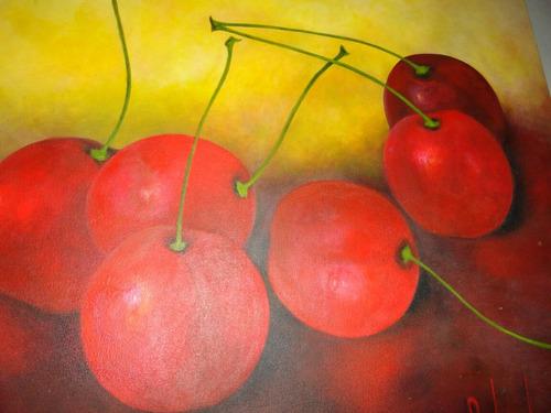 cuadro pintura óleo cerezas