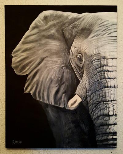 cuadro pintura oleo elefante listo para colgarse