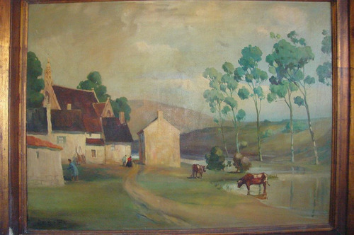 cuadro pintura oleo firma jorge de la puente