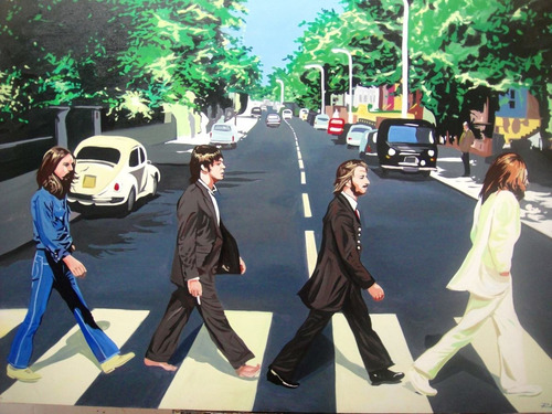 cuadro pintura oleo  the beatles