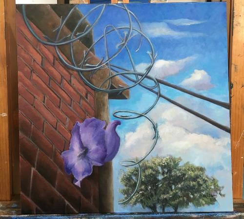 cuadro pintura original - la trajo el viento - oleo