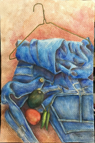 cuadro pintura original - ropa con verduras - acuarela