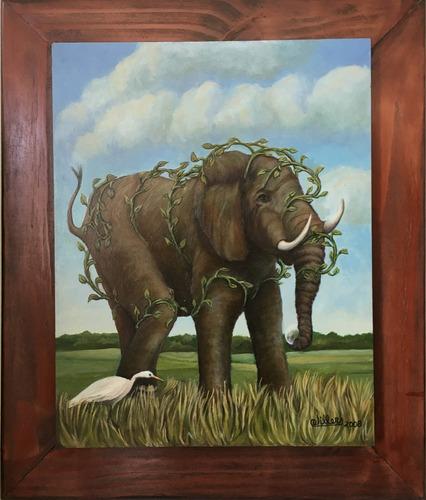 cuadro pintura original - sueño elefante - óleo