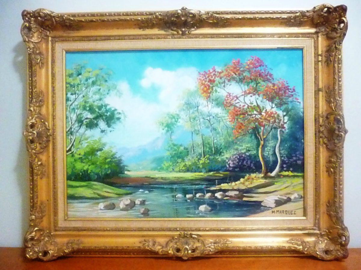 Cuadro pintura paisaje del reconocido artista m marquez - Cuadros de pintura ...