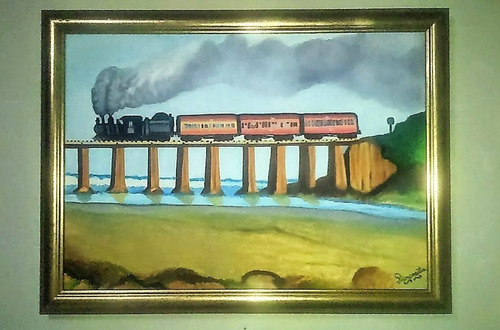 cuadro pintura , paisaje tren locomotora