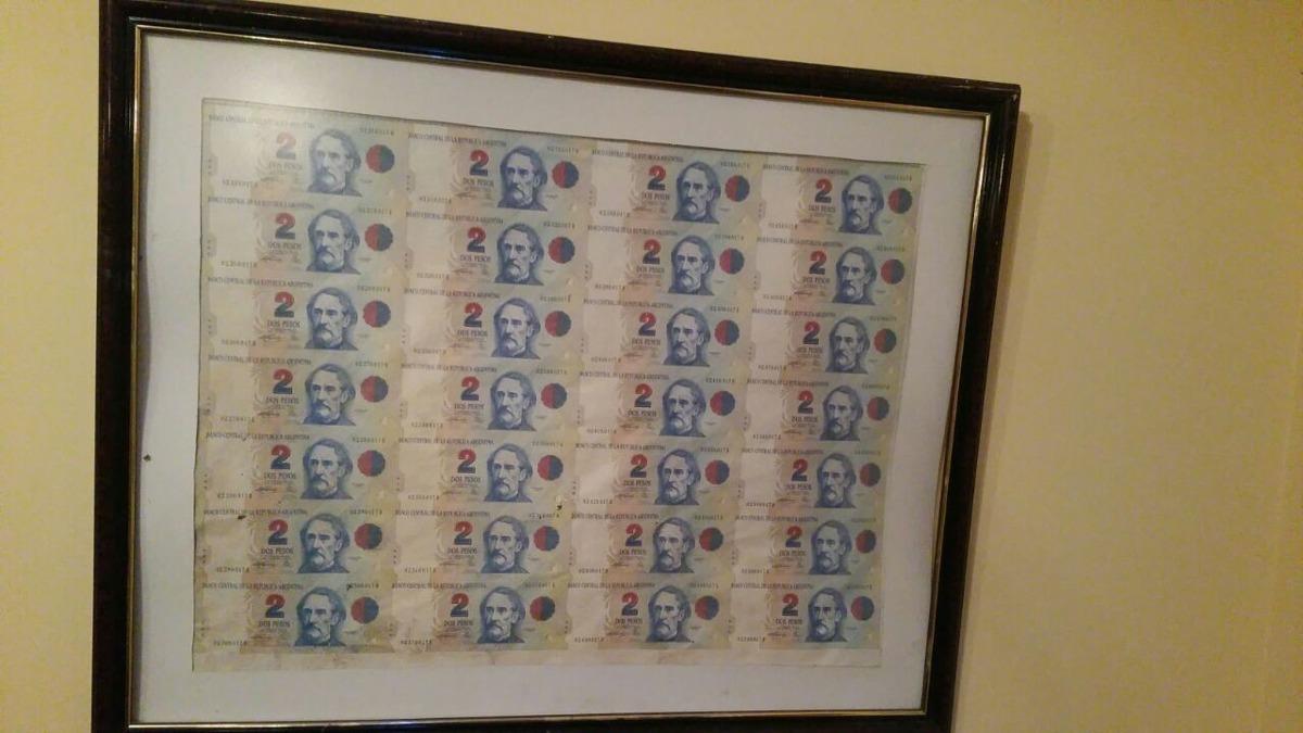 Cuadro Plancha Billetes 2$ Sin Cortar Excelente Marco - $ 1.620,00 ...