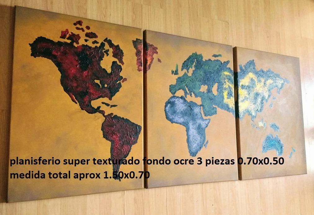 Cuadro Planisferio Mapamundi Pintados Mapa Mundo Envio Grati ...