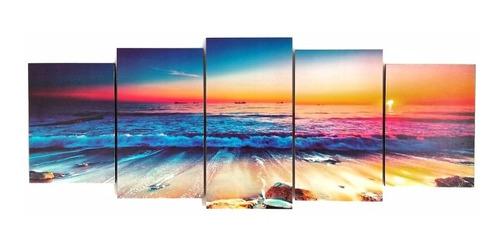 cuadro playa mar caribe paraiso paisaje moderno poliptico