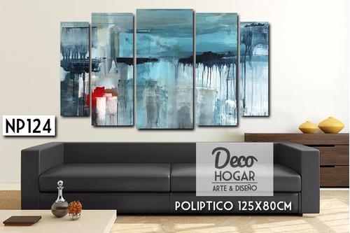cuadro poliptico 125x80cm moderno deco abstracto ciudades