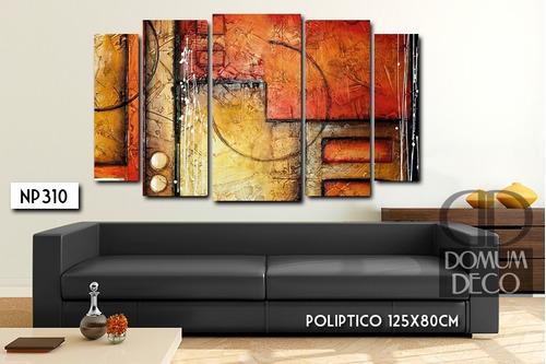 cuadro poliptico 125x80cm moderno deco abstracto oficina diseño personalizado