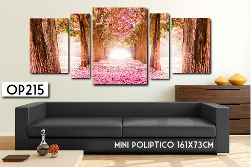 cuadro poliptico 161x73 - 145x78 moderno flores decoracion