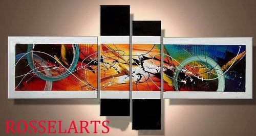 cuadro  poliptico decorativo abstracto full color , negro