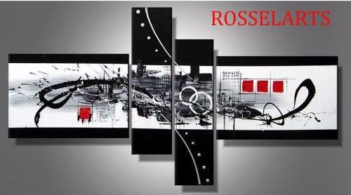 cuadro  poliptico decorativo abstracto urbano fondo negro