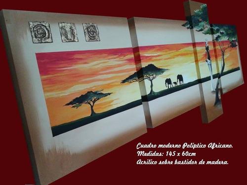 cuadro poliptico moderno africano
