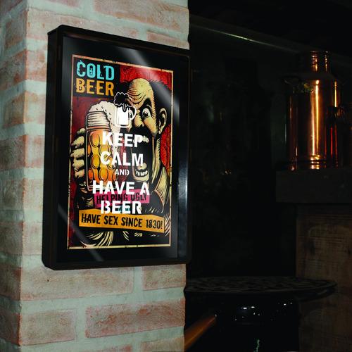 cuadro porta chapitas tapitas grande cerveza fria 38x28cm