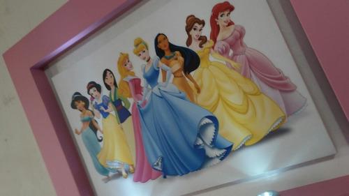 cuadro princesas luces inalambricas led