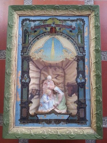 cuadro religioso antiguo frances de la sagrada familia