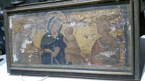 cuadro retablo religioso antiguo madonna y bimbo jesu