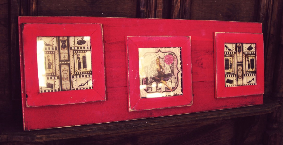 Cuadro Rustico Decorativo Vintage Marco Pintado Madera X 3 - $ 563 ...