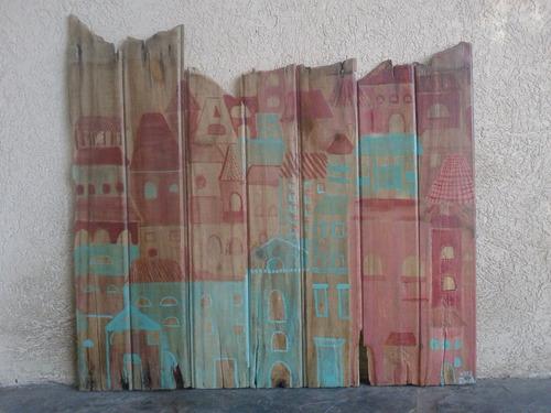 cuadro rústico hecho en tablas de madera 84 cm x 80 cm