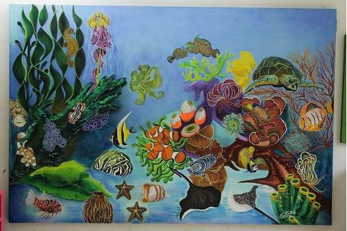 cuadro sobre lienzo hecho en oleo acuario