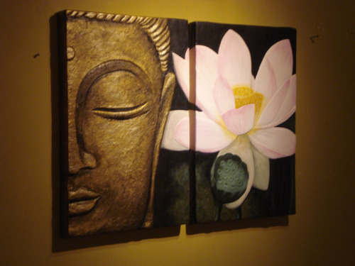 cuadro tallado en relieve díptico buda con flor loto