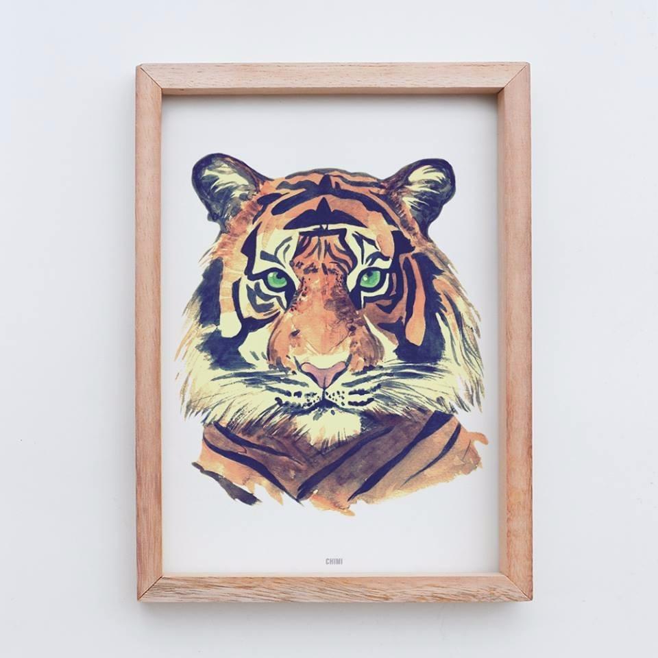 Cuadro Tigre Bengala Nórdico Infantil Acuarela Marco Box Ch - $ 578 ...