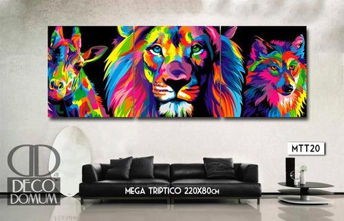 cuadro triptico 220x80cm enorme! paisaje decoración moderno mapas diseño personalizado