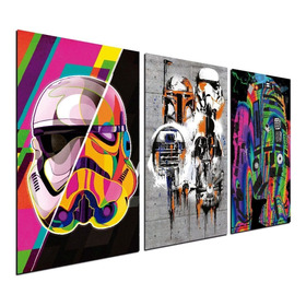 Cuadro Triptico 90x50cm Street R2d2 Star Wars