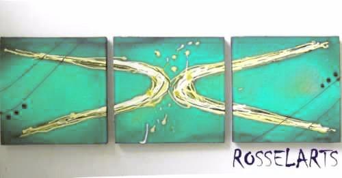 cuadro triptico abstracto decorativo turquesa